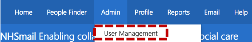 selecting user management